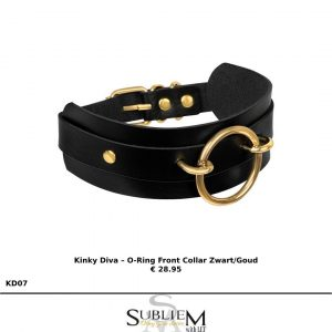 subliem with lef - Kinky Diva – O-Ring Front Collar Zwart/Goud