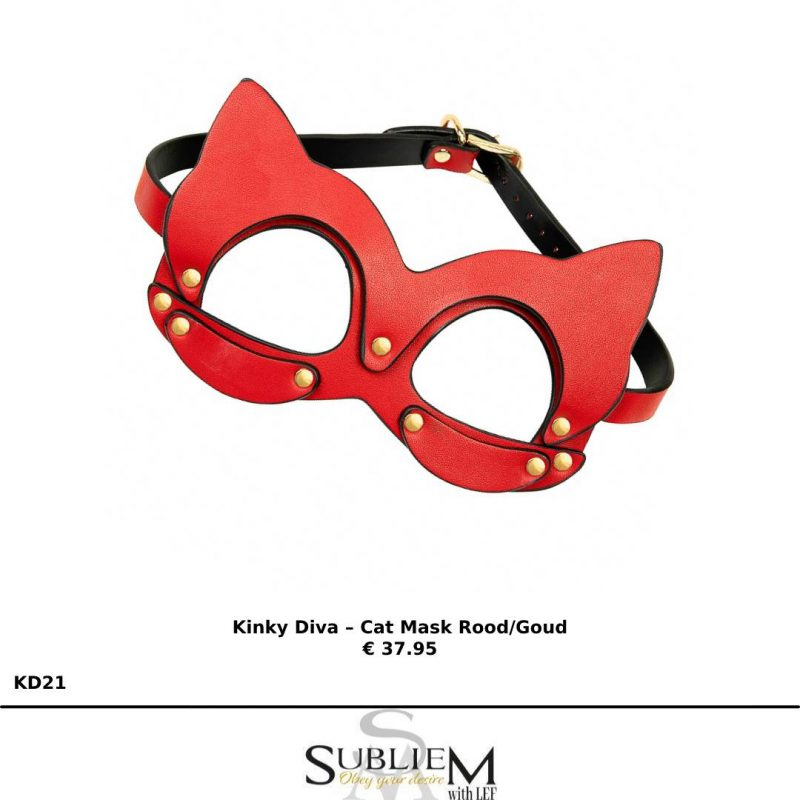 subliem with lef - Kinky Diva – Cat Mask Rood/Goud